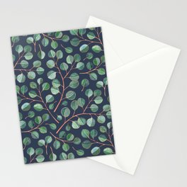 Simple Silver Dollar Eucalyptus Leaves on Navy Stationery Cards