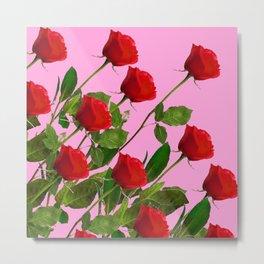 RED LONG STEMMED ROSES ON PINK Metal Print