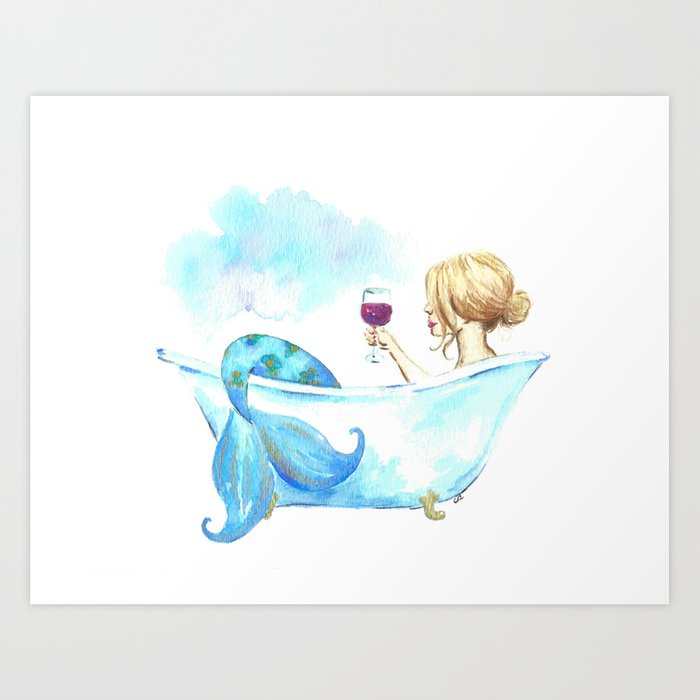 Bathtub Mermaid Art Print