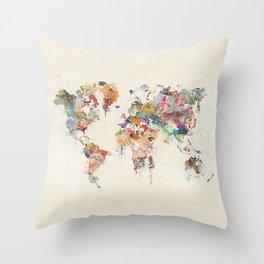 world map watercolor Throw Pillow