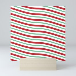 Red White and Green Christmas Candy Cane Pattern Mini Art Print