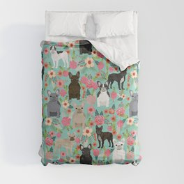 Frenchie floral french bulldog cute pet gifts dog breed must haves florals french bulldogs Comforters