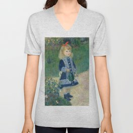 Auguste Renoir A Girl with a Watering Can 1876 Painting Unisex V-Neck