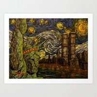 NYC Starry Night: Twin Towers (The True Towers) Art Print