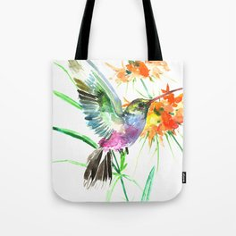 Hummignbird and Flowers Tote Bag