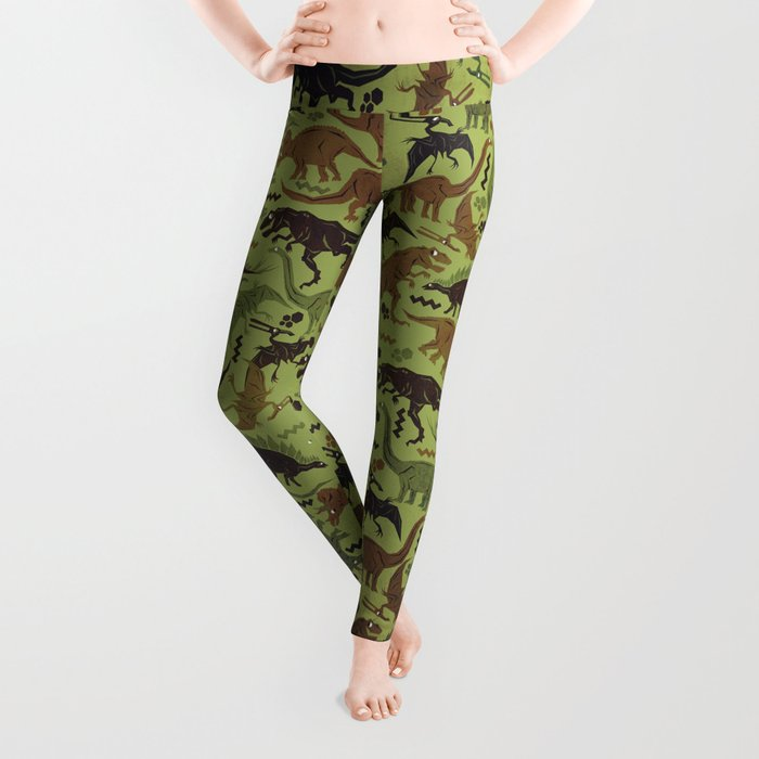 Camouflage Dinosaur Geometric Pattern Leggings