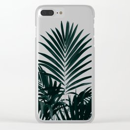 Tropical Green palm tree leaf blush pink gradient photography Clear iPhone Case
