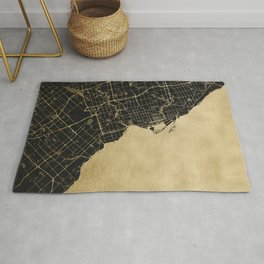 Toronto Gold and Black Street Map Rug
