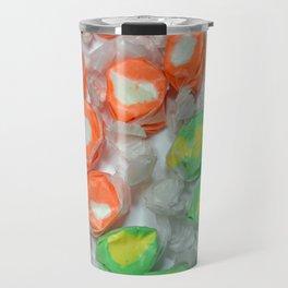 Green and orange wrapped taffy candy Travel Mug