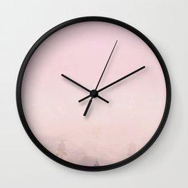 Misty pink peaks Wall Clock
