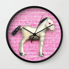 My little foal in a sea of pink Wall Clock