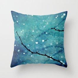 Winter Snow Branches  Throw Pillow