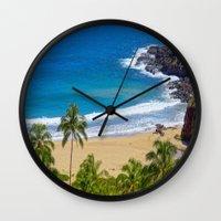 hawaiian Wall Clocks featuring Hawaiian beach by Ricarda Balistreri