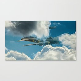 B17 bomber in the clouds. Canvas Print