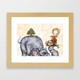 Winter elephant Framed Art Print