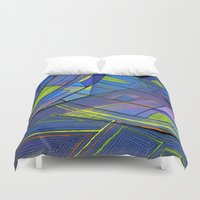 cities Duvet Covers featuring Purple cities by Squidfeathers