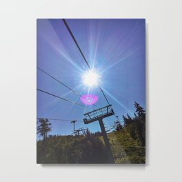 Chairlift Sunburst at Sugarloaf Mountain, Maine Metal Print