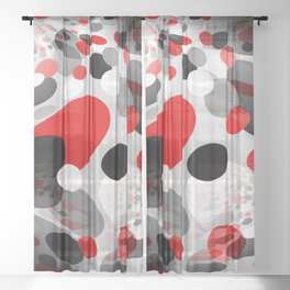 Stir Crazy - Abstract - Red, Black, Gray, White Sheer Curtain