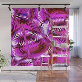 Dynamic Pink Fractal Wall Mural