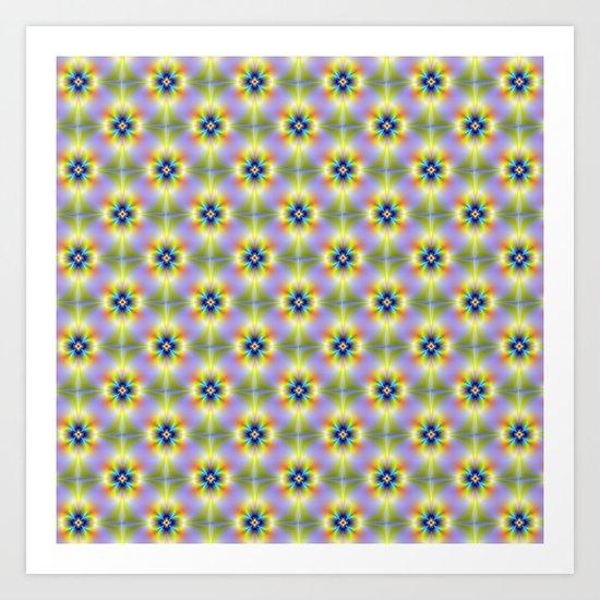 Neon Flower tiled Art Print