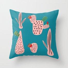 Mid Mod Cactus Teal Throw Pillow