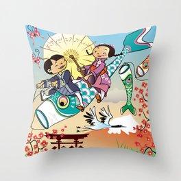 Japan flying fish Throw Pillow