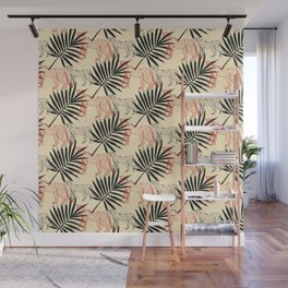 Wild life pattern wild cat cheetah and tropical leaves Wall Mural