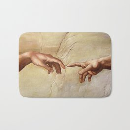"Michelangelo ""Creation of Adam""(detail) Bath Mat"