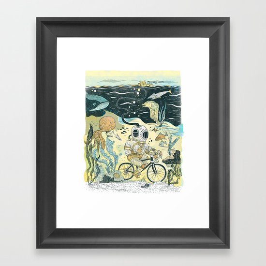 Cycling in the Deep Framed Art Print