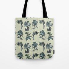 Botanical Florals   Vintage Blue Tote Bag