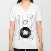 cassette V-neck T-shirts featuring Cassette by T.K.O.