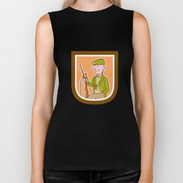 Hunter Holding Rifle Shield Cartoon Biker Tank