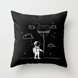 Astronaut Draw with Heart Throw Pillow