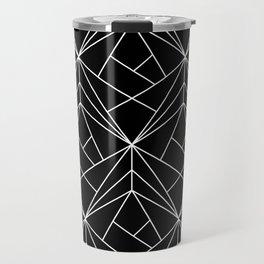 White Geometric Pattern on Black Background Travel Mug