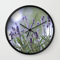 lavender Wall Clocks featuring lavender by Artemio Studio
