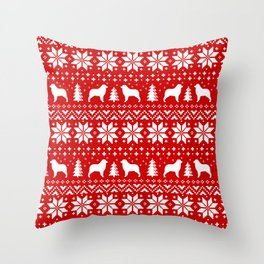 Australian Shepherd Silhouettes Christmas Sweater Pattern Throw Pillow
