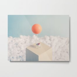 Chair with Balloon Metal Print