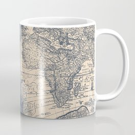 Antique World Map White Gold Navy Blue by Nature Magick Coffee Mug