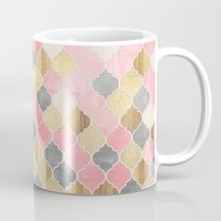 bedding Mugs featuring Silver Grey, Soft Pink, Wood & Gold Moroccan Pattern by micklyn