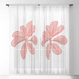Bunch of Red Leaves Illustration Sheer Curtain
