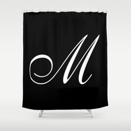 Elegant And Stylish Black And White Monogram M Shower Curtain