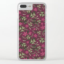 Shamrock Floral Layered Pattern / Purple Clear iPhone Case