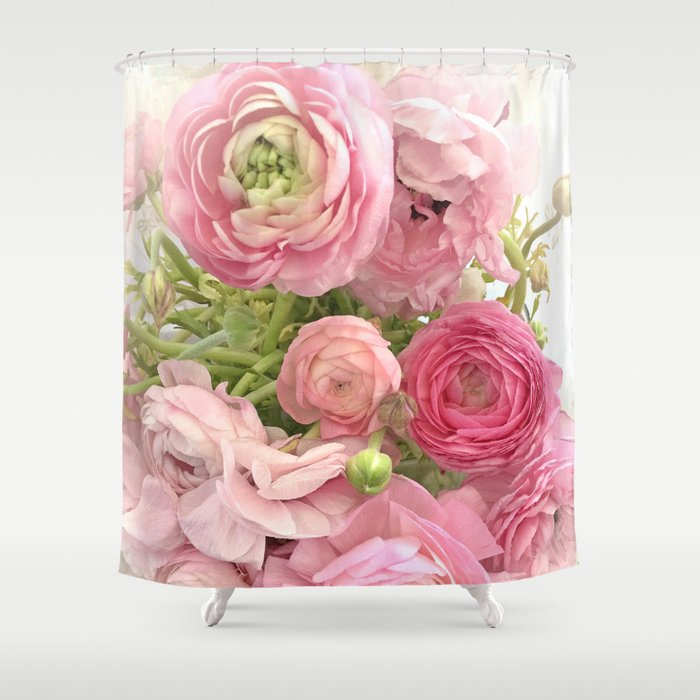 Shabby Chic Cottage Ranunculus Peonies Roses Floral Print Home Decor Shower Curtain