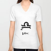 libra V-neck T-shirts featuring Libra by Make-Ready