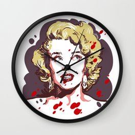 Blonde in red drops Wall Clock