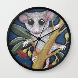 Pygmy Possum and Red Gum Blossoms Wall Clock