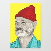 steve zissou Canvas Prints featuring Steve Zissou  by TomLSharp