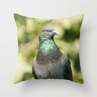 pigeon Throw Pillows featuring Pigeon by Vishal Wadhwani