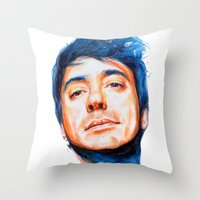 robert downey jr Throw Pillows featuring Robert Downey Jr. by KlarEm