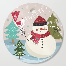 The Sweet Song Of Winter Friends Cutting Board